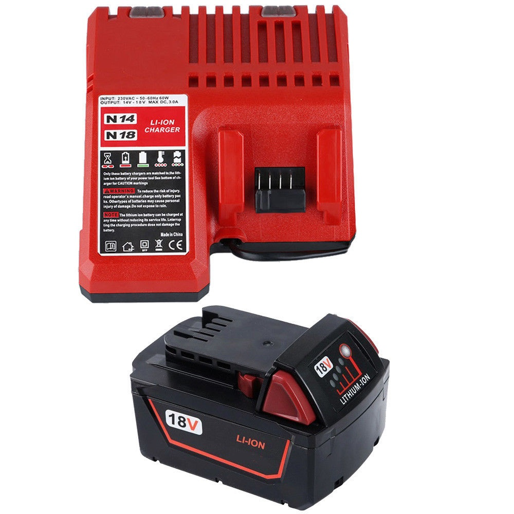 3000mAh 18V Li-Ion Batteri + Lader til MILWAUKEE M18 48-59-1812 1840