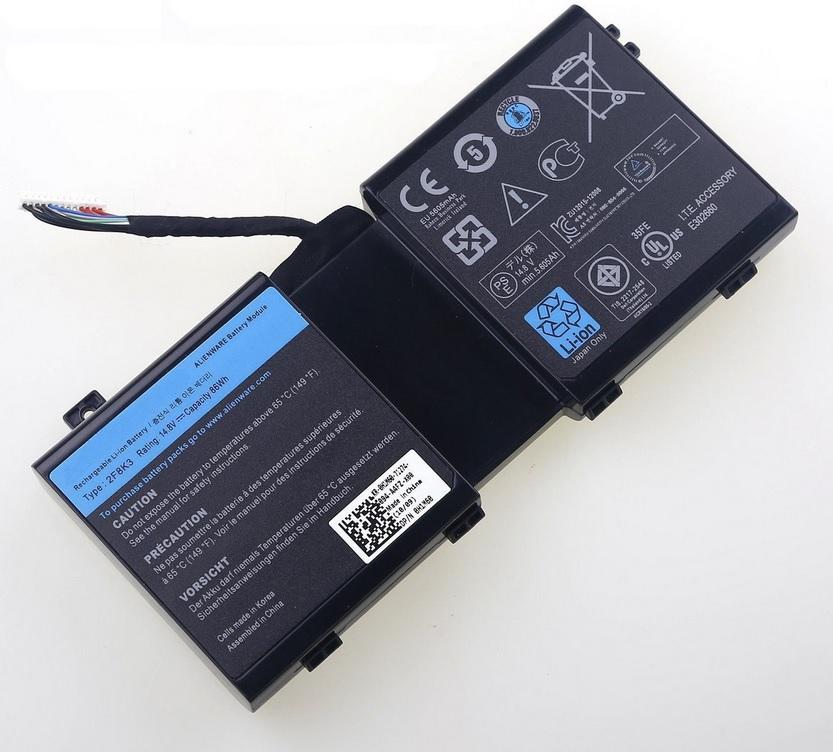 Batteri til 14.8V 2F8K3 KJ2PX Dell Alienware 17 M17X-R5 18 M18X-R3 0J33T (kompatibelt)